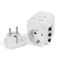 Travel Adapter 2 USB ports 2,4A White - Techly - I-TRAVEL-06TYWH