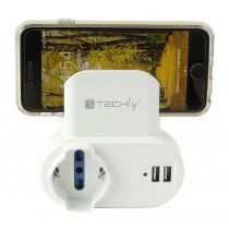 Adapter 2-socket / Schuko 2 USB 1A Socket with Smartphone Holder - Techly - IPW-USB-1A2PC