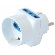 Three-way Adaptor - Schuko plug to italian and schuko sockets - Techly - IPW-TRP1040