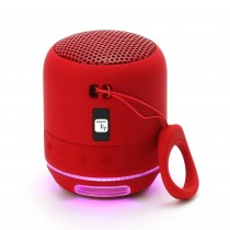 Wireless Portable Speaker with Speakerphone and LED Lights Red - Techly - ICASBL94RE
