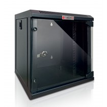 "Wall Rack Cabinet 10"" 9U Glass Door Black - Techly Professional - I-CASE EM-1009BKEC"