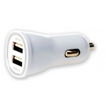 Charger 2p USB 5V 1A & 2.1A for Car Cigarette Lighter Socket White - Techly - IUSB2-CAR2-2A2P