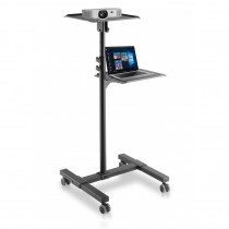 Universal Adjustable Trolley for Notebook Projector with Shelf Black - Techly - ICA-TB TPM-10