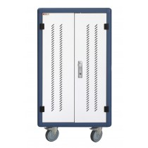 Ventilated USB Charging Station Trolley for 30 Notebook or Smartphone White/Blue - Techly Professional - I-CABINET-30DUTY