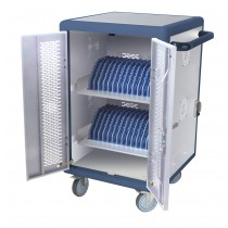 Ventilated Charging Station Trolley 30 Notebook or Smartphone White/Blue - Techly Professional - I-CABINET-30DTY