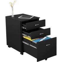 Chest with Three Drawers Desk, Graphite Black-ICA-FC 09BK-Techly