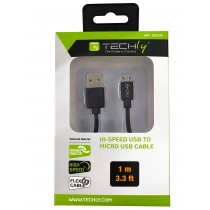 High Speed USB Cable to Micro USB Reversible Connectors Black 1m - Techly - ICOC MUSB-A-010S