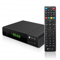 Decoder DVB-T/T2 H.265 HEVC 10bit Plastic with Display and 2 in 1 Universal Remote Control - Techly - IDATA TV-DT2PLB