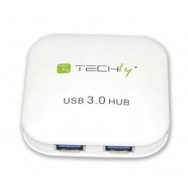 USB 3.0 Super Speed Hub 4 Ports White - Techly - IUSB3-HUB4-WH