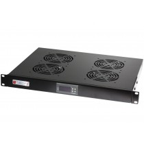 "4 Fans with LED Thermostat 1U Rack 19"" mount Black - Techly Professional - I-CASE FAN-TC4B"