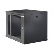 "Wall Rack 19"" Wall Mounted 10U Single Section D 600mm Black Grille Door - Techly Professional - I-CASE EW-2010BK6V"