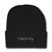Black ribbed winter cap with Techly logo  - Techly - I-TLY-BER