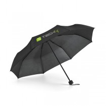 Black folding umbrella with Techly logo - Techly - I-TLY-OMBB