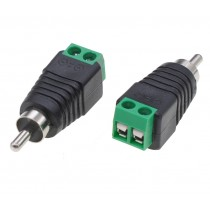 2-pin Terminal Block Connector to Male RCA Adapter - Techly - IADAP TB2T-RCAMM