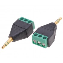 3.5mm Male Audio Connector Adapter to 3 pin Terminal Block - Techly - IADAP TB3T-AU35M