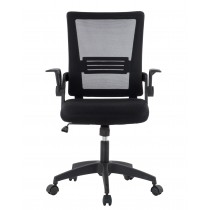 Black Office chair with padded seat and net fabric back - Techly - ICA-CT MC003BK