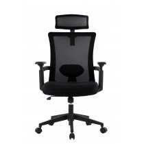 Office Chair with High Back and Adjustable Headrest Black - Techly - ICA-CT MC016