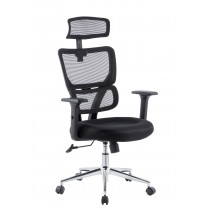 Office Chair with Two Sections High Backrest and Chromed Base Black  - Techly - ICA-CT MC023