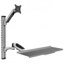 Wall-mounted workstation with monitor support and extendable keyboard shelf - Techly - ICA-PLW 02