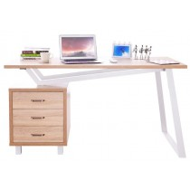 Computer Desk with Three Drawers White/Oak - Techly - ICA-TB 3533O