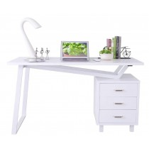 Computer Desk with Three Drawers Glossy White - Techly - ICA-TB 3533W