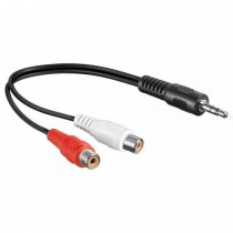 Stereo Audio Cable 2 RCA Female to Jack 3.5 mm Male 0,20m - Techly - ICOC-035-NC-002TY