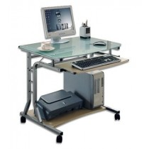 Compact Desk for PC Metal & Glass with Wheels - Techly - ICA-TB 3791A