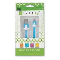 Flat Cable USB AM to Micro USB M Blue 1 m - Techly - ICOC MUSB-A-FLBL