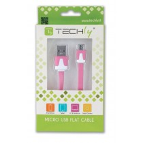 Flat Cable USB AM to Micro USB M Pink 1 m - Techly - ICOC MUSB-A-FLR