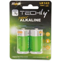 Blister 2 Batteries High Power Half Torch C Alkaline LR14 1.5V - Techly - IBT-KAL-LR14T