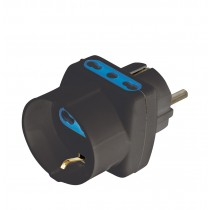 Three-way Adaptor - Schuko plug to italian and schuko sockets Black - Techly - IPW-TRP1040BK