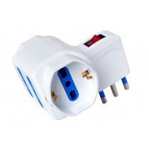 Adaptor with italian 16A plug and 2 italian dual-size std + 2 dual-size/german std sockets - Techly - IUPS-PCP-2I2S-SP16