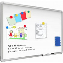 White Lacquered Magnetic Whiteboard Dry Erase 120x180 cm - Techly - ICA-WH 108