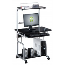 Mobile Desk for PC Printer with Extractable Keyboard, Glossy Black - Techly - ICA-TB 7800BK