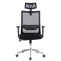 Office Chair with High Backrest Headrest and Chrome Base Black - Techly - ICA-CT MC021