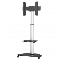 """Floor Stand with Shelf Trolley TV LCD/LED/Plasma 37-70"""" Silver - Techly - ICA-TR3SL"""