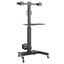 """Floor Trolley with Shelf and CPU Holder for 2 LCD/LED/Plasma TVs 13-32"""" - Techly - ICA-TR42"""