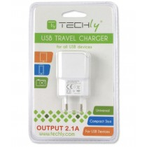 Italian Plug Adapter with 1 USB Port 5V / 2.1A White - Techly - IPW-USB-21EC