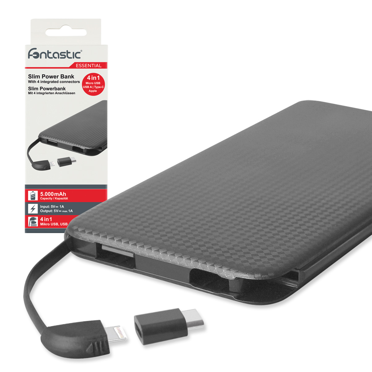 Carica Batterie Power Bank Slim 5000mAh 4-in-1 ...