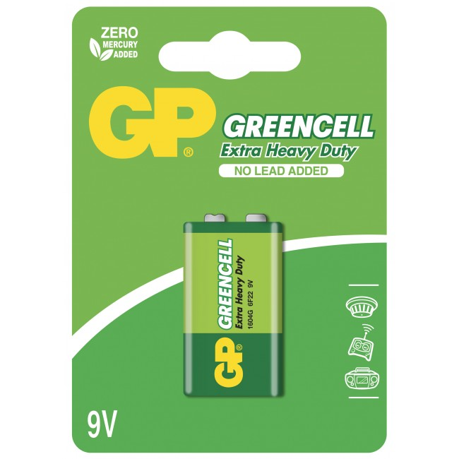 Batteria Greencell Zinco/Carbone 9V 6F22