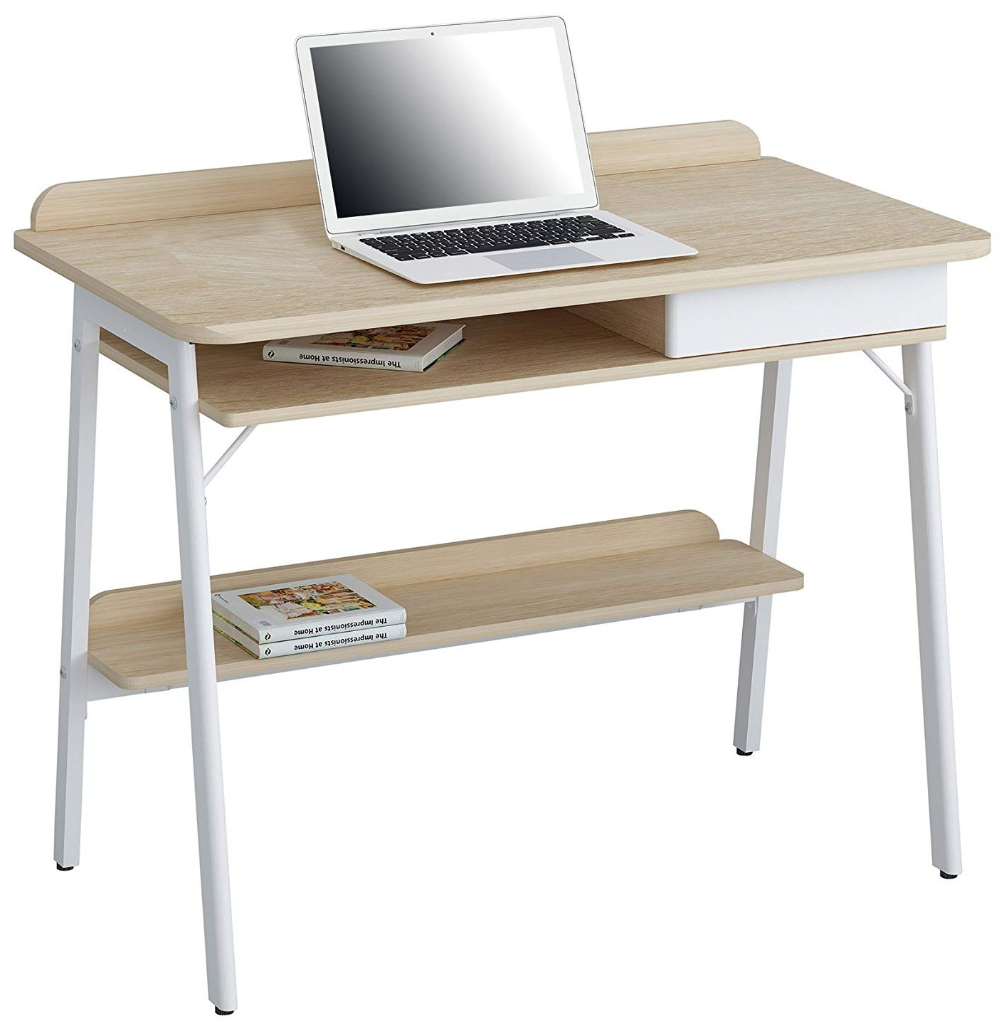 Picture of: Compact Computer Desk White And Oak Aspect Computer Desks Office Furniture Office