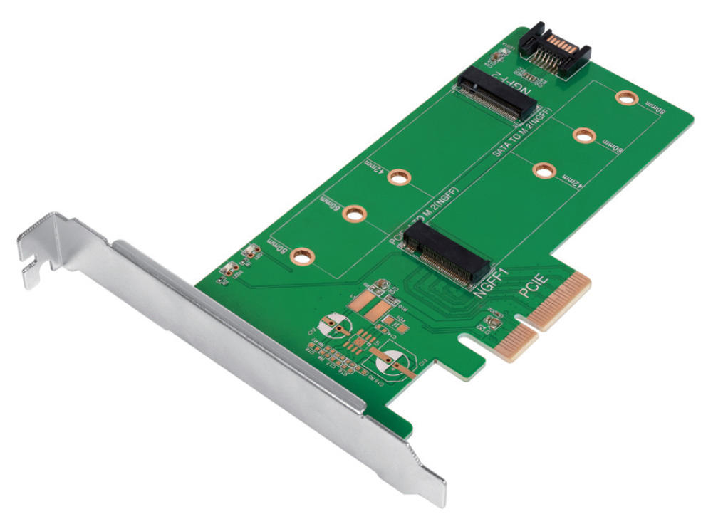 Doppio Adattatore PCIe M.2 per SSD SATA e PCIe ...