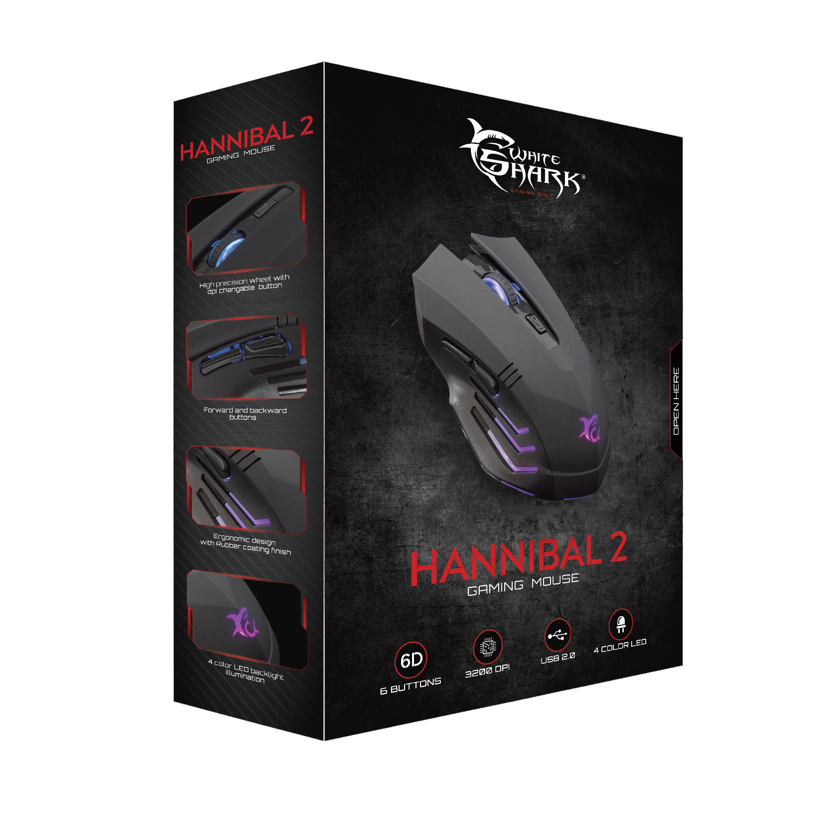 Mouse Gaming USB 3200dpi 6 Tasti Hannibal-2 GM-...