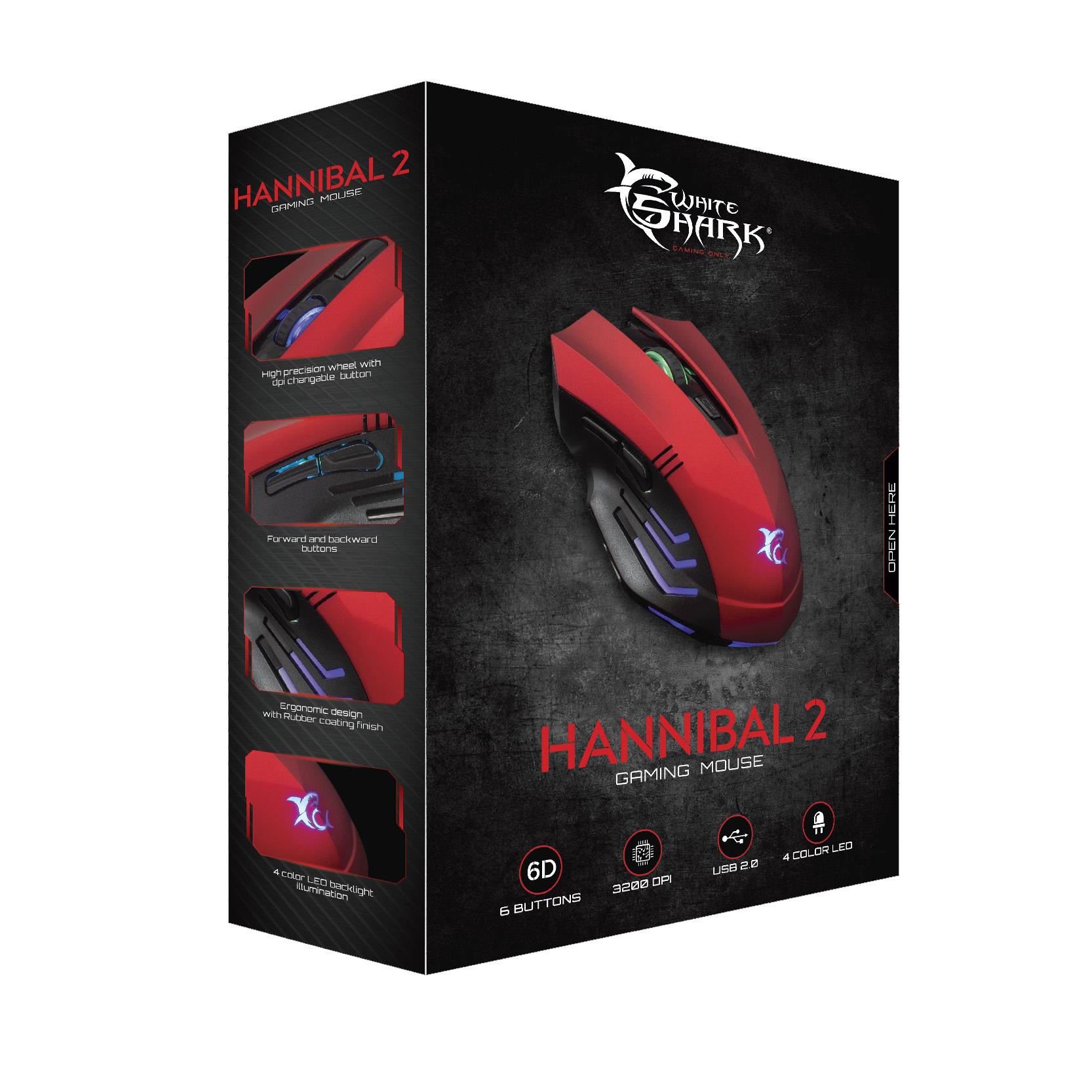 Mouse Gaming USB 3200dpi 6 Tasti Hannibal-2 GM-...