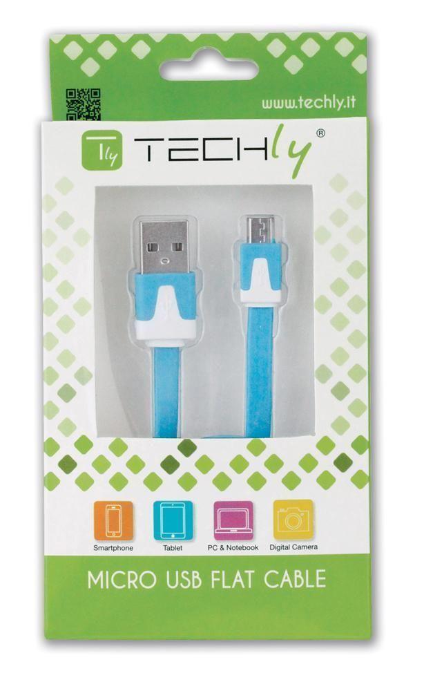 Cavo Flat USB AM a Micro USB M Azzurro 1m