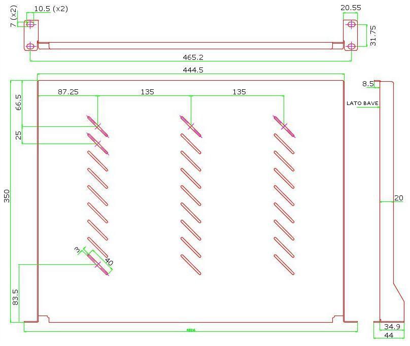 Mensola per Rack 19'' 350 mm 1U Nera 2 punti
