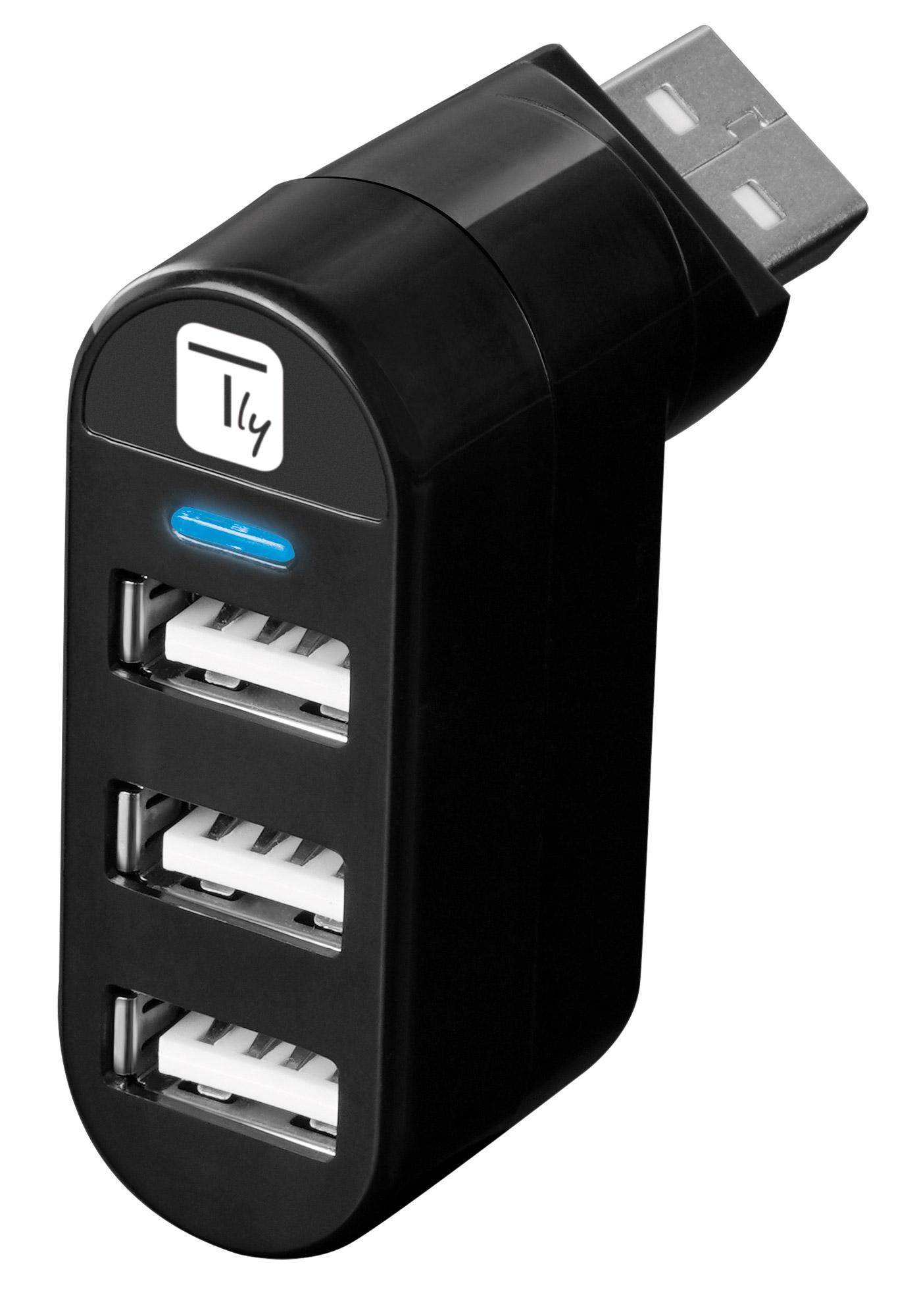 Mini Hub Rotante con 3 Porte USB 2.0 Nero