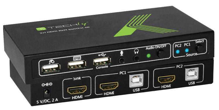 KVM switch 2x1 con USB e HDMI
