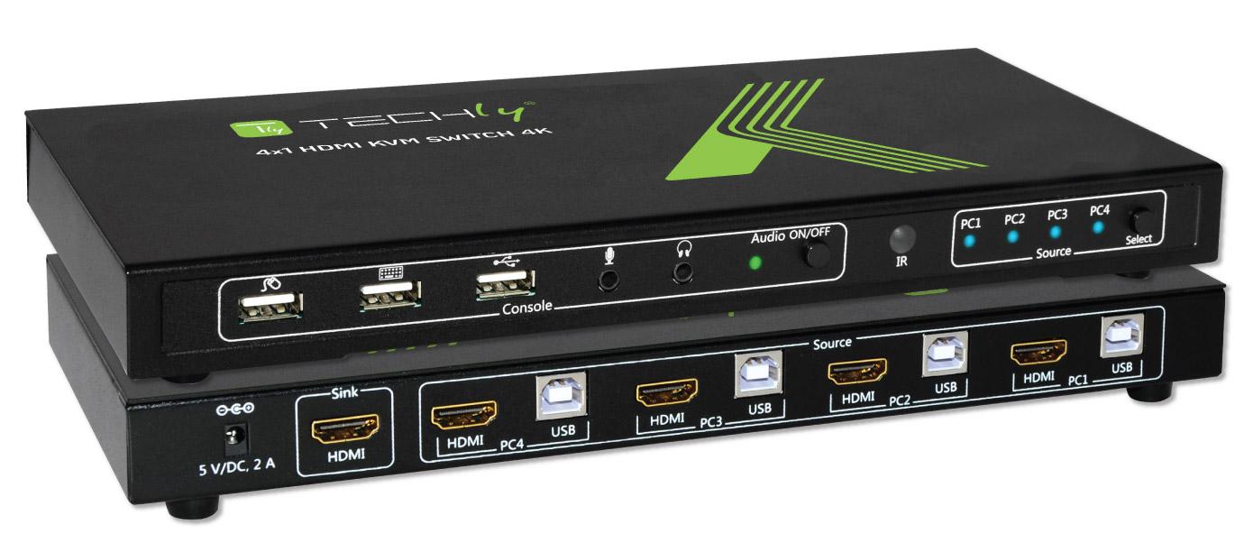 KVM switch 4x1 con USB e HDMI