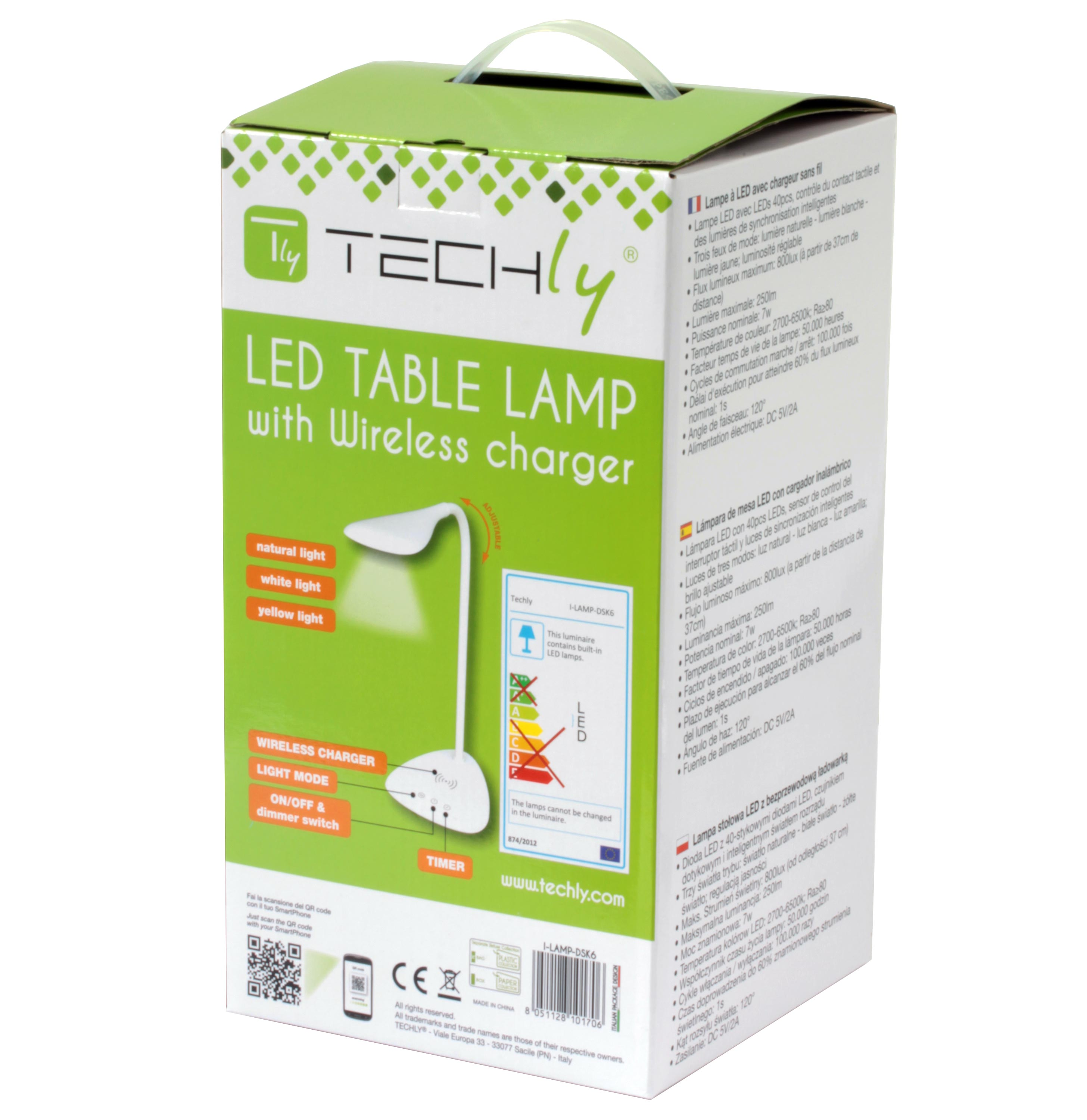 Table Led Lamp With Wireless Charger Lampade Da Arredo Lighting Emergency Battery Protector